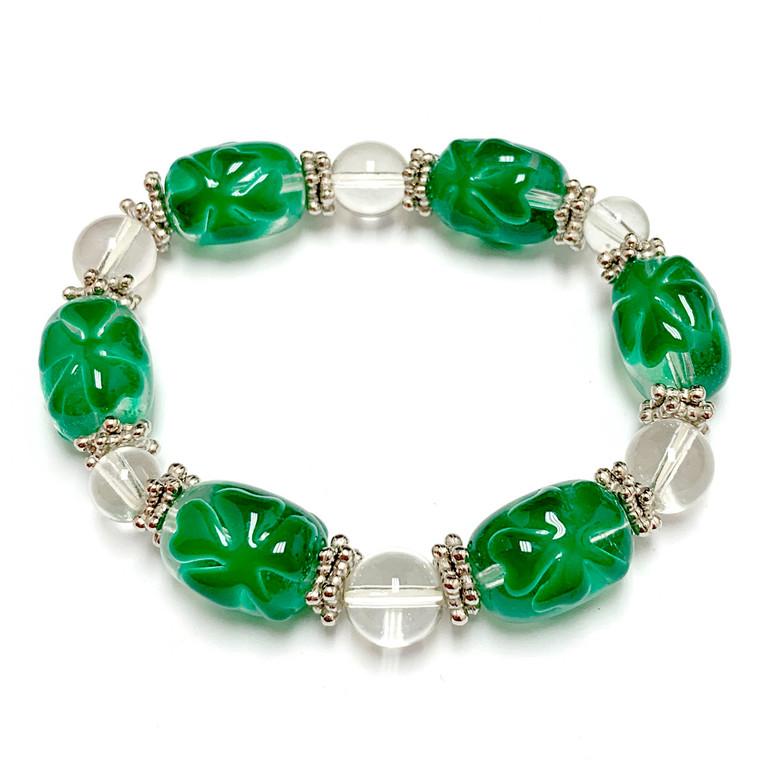 Green Clover Leaf Bracelet - St Patrick's Day Bracelet - Lucky Beaded Stretch Bracelet for Her - Fiona - BR0817