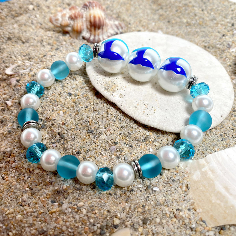 Whale Tail Glass Bead Bracelet - Nautical Beach Ocean Jewelry  - Handmade Beaded Bracelets for  Women - Fiona - BR2824C