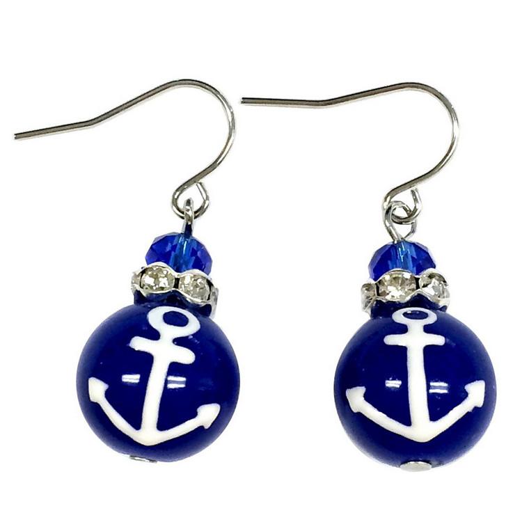 Navy Blue Anchor Glass Drop Earrings - Handmade Naval Beach Glass Crystal Jewelry for Women - Fiona - E308A