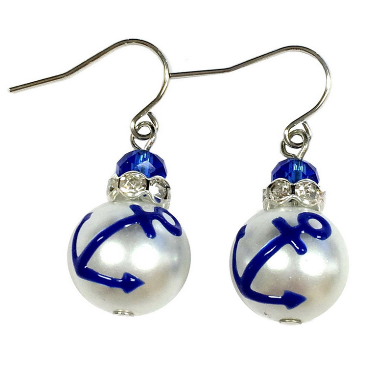 Blue Anchor Glass Drop Earrings - Handmade Naval Beach Glass Crystal Jewelry for Women - Fiona - E308B