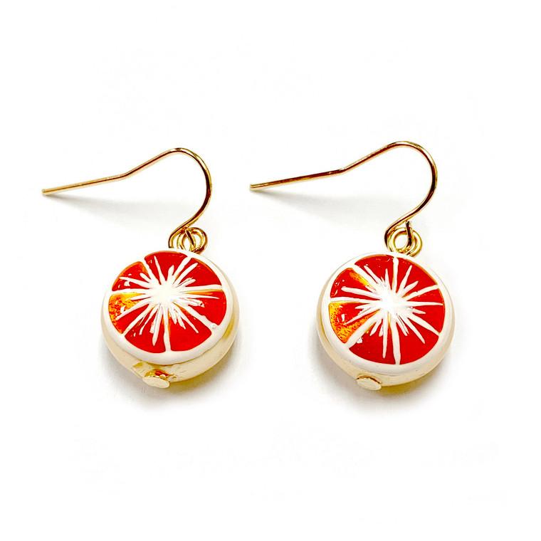 Orange Fruit Swarovski Gold Crystal Drop Earrings   Vivid Painting