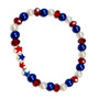 Painted USA  Stars Dainty Glass & Crystals Beaded Stretch Bracelet (BR-2730B)