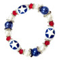Painted Air Force Star Glass Beaded Stretch Bracelet (BR-2534G)
