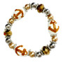 Painted Gold Anchor, Marine Glass Beaded Stretch Bracelet (BR-2534K)