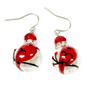 Painted Cardinal Glass Beads Earrings (E-312)