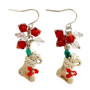 Painted Christmas Stockings Charm & Crystals Earrings (E-357C)