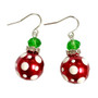 Painted Christmas Polka Dots Pearl Red Glass Beads Earrings (E-371)