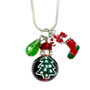 Painted Christmas Tree Glass Bead, Painted Stocking & Crystal Charms Necklace (NE-3091D)