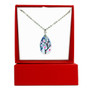 Fine Painted Cherry Blossom Swarovski Aqua Crystal Necklace (NE-3133) - With Gift Box - Inspired by Van Gogh's Almond Blossom Painting.