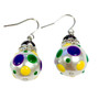 Mardi Gras Polka Dots Glass and Crystals Beaded Drop Earrings(E-375A) -Justice, Faith, Power
