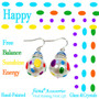 Happy Polka Dots Glass and Crystals Beaded Drop Earrings(E-375C) - Carded -  Free, Balance, Sunshine, Energy