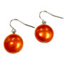 Fine Painted Orange Swarovski Crystal Coin Pearl Earrings (E-373A) - Back