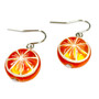 Fine Painted Orange Swarovski Crystal Coin Pearl Earrings (E-373A) - Side