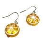 Fine Painted Lemon Swarovski Crystal Coin Pearl Earrings (E-373B) - Side