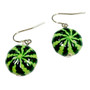 Fine Painted Watermelon Swarovski Crystal Coin Pearl Earrings (E-373D) - Back