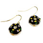 Fine Painted Chocolate Donuts Swarovski Crystal Coin Pearl Earrings (E-372A) - Side