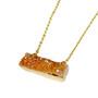 "Rectangle Druzy Pendant Necklace (NE-3192) - Orange AB - 18"" Necklace Chain"