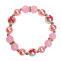 Painted Pink Ribbon Breast Cancer Awareness Dainty Pearl  Pink Glass Bead Stretch Bracelet IUP20-5