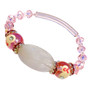 Painted Pink Ribbon Breast Cancer Awareness Rose Quartz and Glass Bead Stretch Bracelet BR-1330