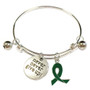 Painted Green Ribbon Charm Liver Cancer, Bipolar Disorder, Mental Health Awareness Adjustable Bangle 052716-5