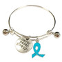 Painted Light Blue Ribbon Charm Prostate Cancer, Chronic Health, Foster Care Awareness Adjustable Bangle 052716-7