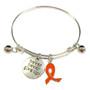 Painted Orange Ribbon Charm Kidney Cancer, Leukemia Cancer, Multiple Sclerosis, Self-injury Awareness Adjustable Bangle 052716-8