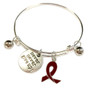 Painted Brown Ribbon Charm Colon Cancer, Colorectal Cancer Awareness Adjustable Bangle 052716-10