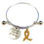 Painted Gold Ribbon Charm Childhood Cancer Awareness Adjustable Bangle 052716-16