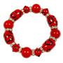 Valentine Bracelet - Red Hearts Bracelet  - Glass Beaded Bracelet - Hand painted - IUP653