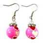 Valentine Earrings - Pink Hearts Earrings - Glass Beaded Dangle Earrings - Hand painted - E22R