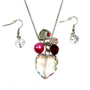 Valentine Necklace - AB Crystal Heart with Lock Charms Necklace and Earrings Set - Handmade - NE3011C