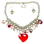 Valentine Necklace - Red Heart Crystal Pendant with Heart Charms Necklace and Earrings Set - Handmade - NE3018