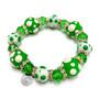 St Patrick's Day Bracelet - Green Polka Dots Glass Beaded Stretch Bracelet for Women - Fiona - PD03