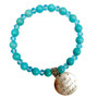 8mm Blue Turquoise Stone Bracelet - She Believed Charm Bracelet - Stone Beads Bracelet for Women - Fiona - BR3099A