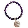 8mm Purple Amethyst Bracelet - Always Sisters Charm Bracelet - Stone Beads Bracelet for Women - Fiona - BR3099D