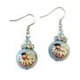 Seashell Glass Drop Earrings - Handmade Nautical Beach Ocean Glass Crystal Jewelry for Women - Fiona - E103
