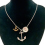 Long Anchor Pendant 28inch Chain Necklace - Handmade Beach Silver Metal Jewelry for Women - Fiona - LP0411201331