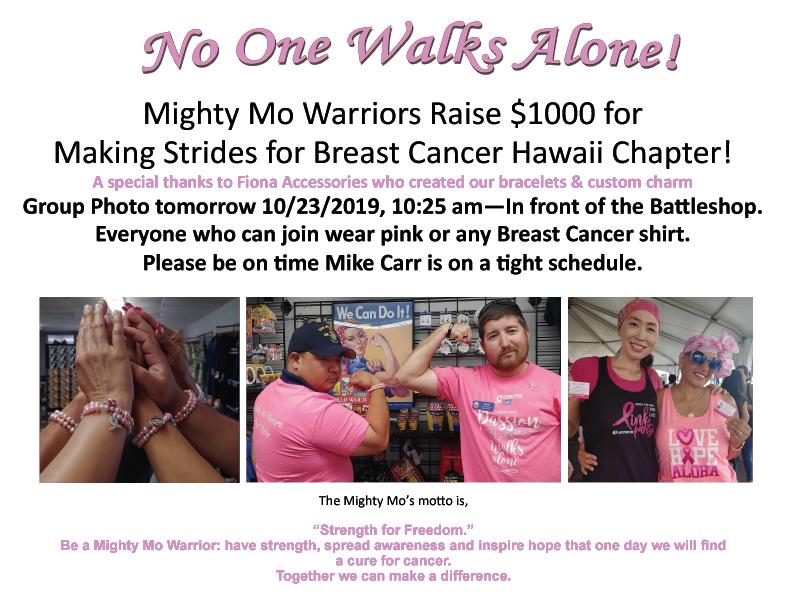 NoOneWalksAlong_MightyMoWarriors_BreastCancerDonatoin_FionaPinkRibbonBracelets