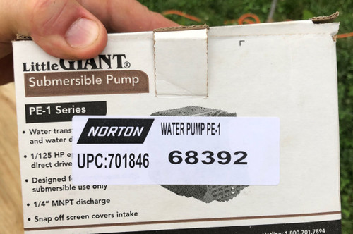 "Small Seeds 14"" Norton Clipper Masonry Saw BBC BBL Electric Water Pump 70184668392 PE-1 Nortonparts"