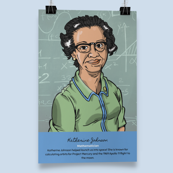 Katherine Johnson wall art poster for home classroom