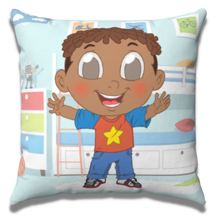 Throw pillow for boy home decor featuring Xavier black boy joy