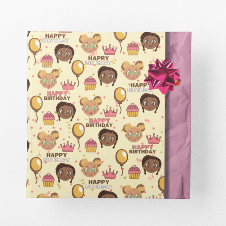 Wrapping paper with two black girls  in pink