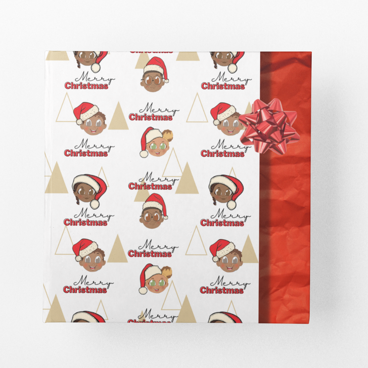 Christmas wrapping paper with black and brown children wearing Christmas hats