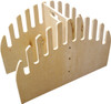 freestanding wood skimboard rack that holds 10 boards