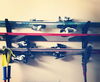 horizontal wall rack for skis and ski poles