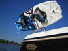 A towerless wakeboard rack that attaches to side of boat