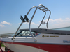 tower with rack for wake boat