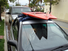 Temporary roof rack system for surfboards