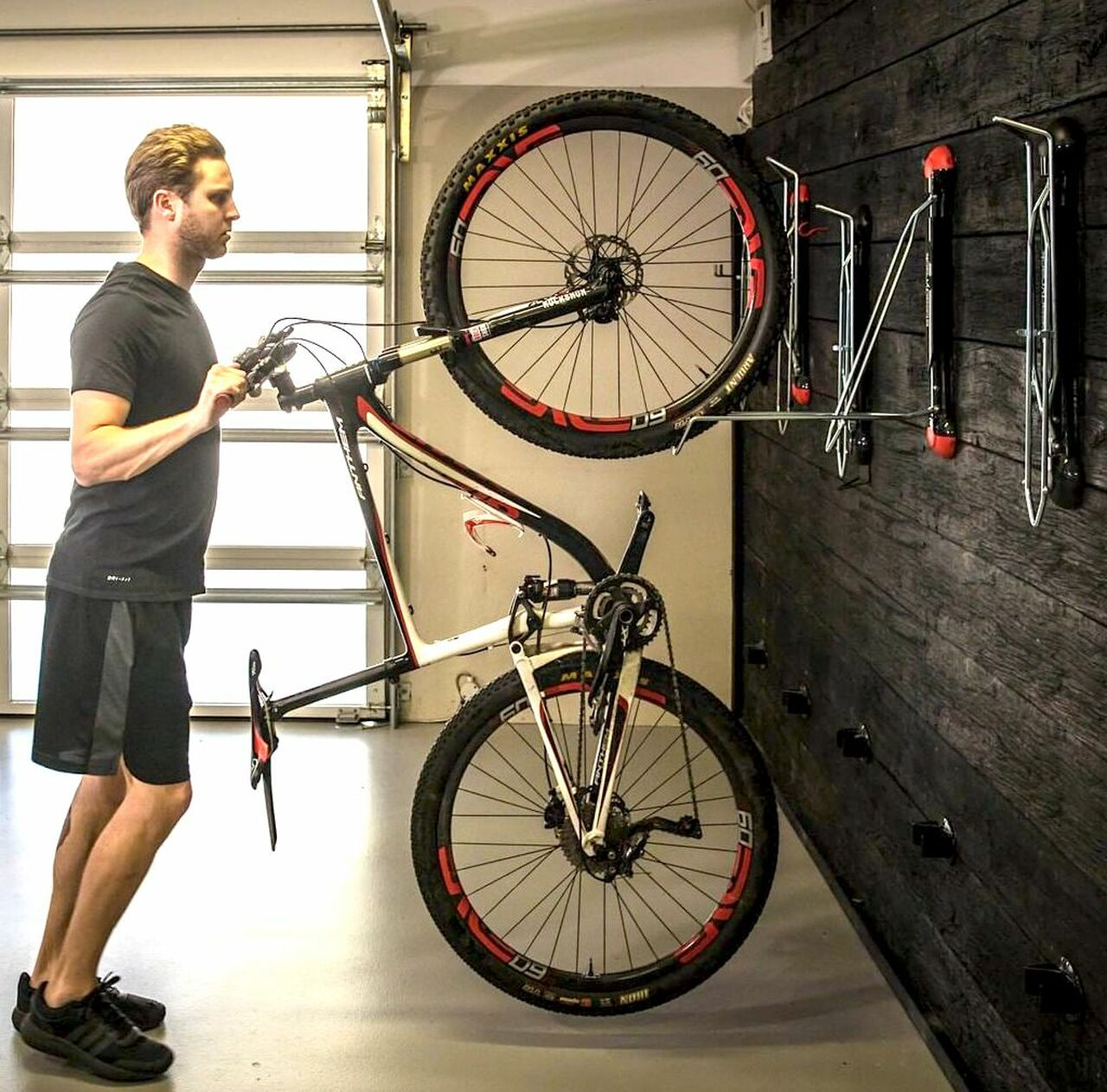 Black Bicycle Mountain Bike Storage Wall Mounted Rack Stands Hanger Hook Tool