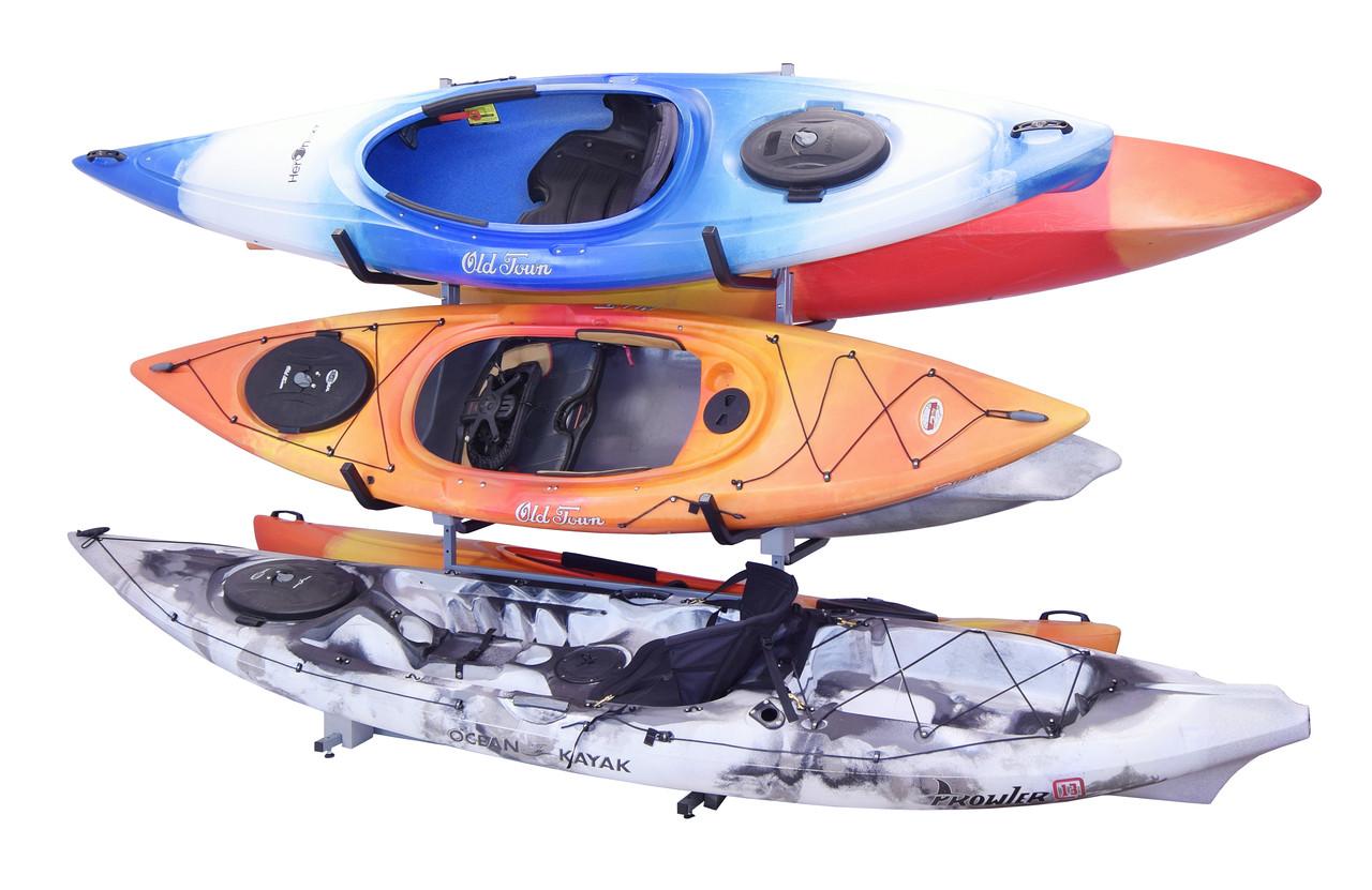Six boat freestanding kayak storage rack organizer